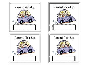 Bus ~ Walker ~Parent Pick Up ~ Necklace Cards **EDITABLE!