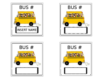 Bus ~ Walker ~Parent Pick Up ~ Necklace Cards **EDITABLE!