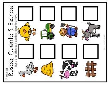 "Busca, Cuenta & Escribe! A Farm ""Math the Room"" #1-8"