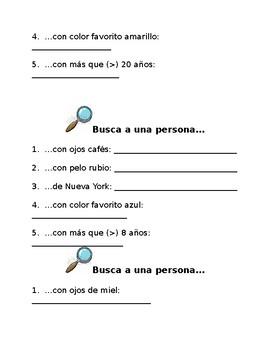Spanish Find a Partner Activity / Busca a una persona