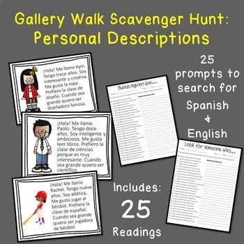 Busca alguien que Gallery Walk Scavenger Hunt: Personal Descriptions Spanish