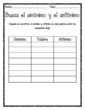 Busca el Sinónimo y Antónimo