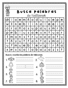 Busca palabras de Halloween/ Halloween Word Search in Spanish