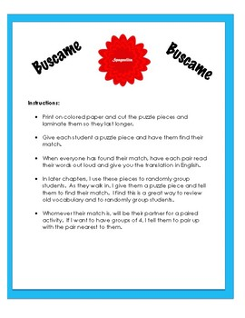 """Auténtico 1 - 1A: vocabulary matching game """"Buscame"""""""