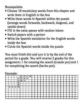 Word search: Students create their own