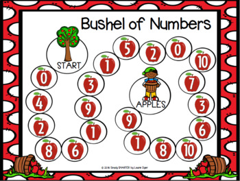Bushel of Numbers:  NO PREP Apple Themed Board Game