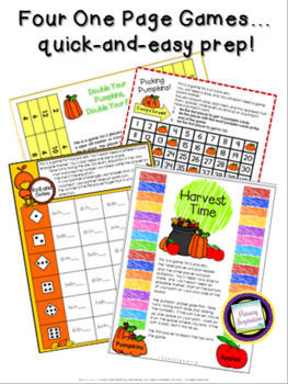 Fall Addition and Subtraction Games First Grade and Second Grade