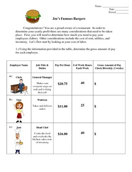 Business (Calculating Paychecks and Writing Checks)