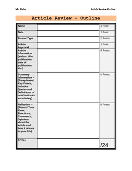 Business Article Discussion Summary Graphic Organizer and Rubric in One