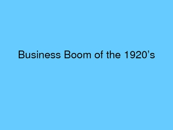 Business Boom of the 1920's