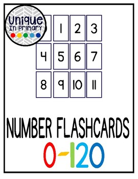 Business Card Size Number Flashcards 0-120 (Perfect for laminating!)