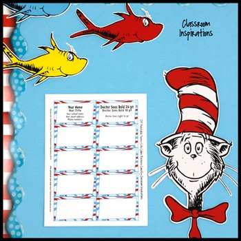 Business Cards – Coordinates with Seuss-like Colors Classroom Theme