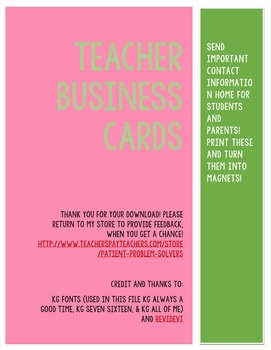 business cards teachers or substitute teachers freebie - Substitute Teacher Business Cards
