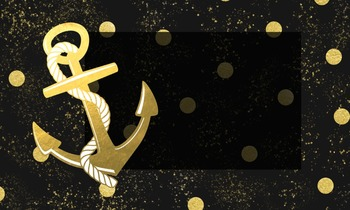 Business Cards *editable* Nautical Design Black & Gold