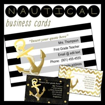 Business Cards *editable* Nautical Design Black & Gold