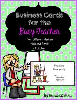 Business Cards for the Busy Teacher - Editable