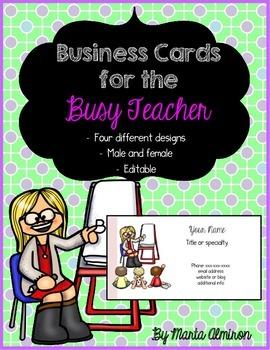 Business Cards for the Busy Teacher - Editable