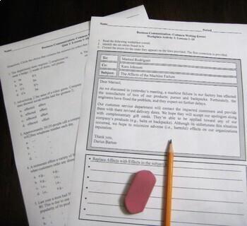Business Communication: Common Writing Errors – Warm-Up, Homework, or Sub Lesson