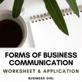 Forms of Business Communication Worksheet and Application Questions