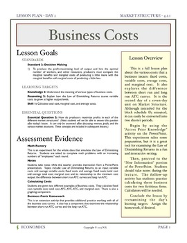 Business Costs - Lesson Plan and Activities