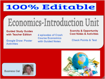 Business Economics Complete Intro Unit: Projects, Activities, Guided Notes, etc