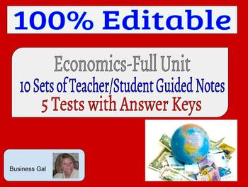 Business Economics Total of 5 Tests/Answer Key & Guided Notes Full Unit