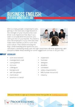 Business English: Interviewing for a Job