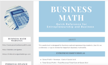 Business & Entrepreneurship Math Reference Sheet