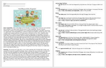 Business Ethics- Social Responsibility Assignment