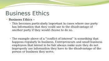 Business Ethics & Social Responsibility Entrepreneurship/ Micro-Enterprise