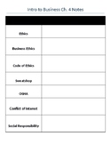 Business Ethics & Social Responsibility Guided Notes - Intro to Business Ch. 4