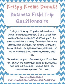 Business Field Trip Questionnaire (Krispy Kreme or other)