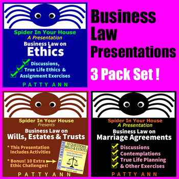 Business Law 3 Pack *Activities *Discussions *Real Life Is
