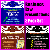 ETHICS CIVICS Business Law 3-Pack BUNDLE *Activities *Discussions *Exercises