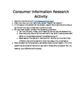 Business Law Consumer Recall Activity (sub folder)
