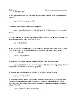 Business Law Contract Law Test with Key
