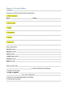 "Business Law ""Contracts"" Unit note guides; graphic organizers"
