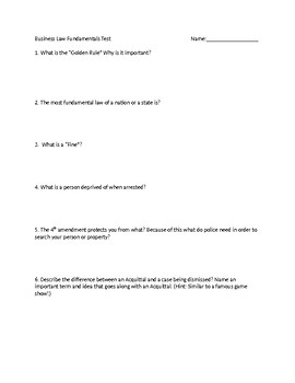 Business Law: Fundamentals Assessment