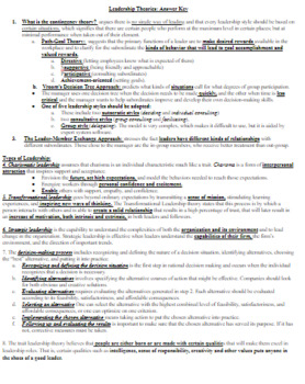 Business Leadership Management Theory CTE Guided Notes/Graphic Organizer w/Key