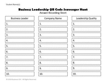 Business Leadership QR Code Scavenger Hunt