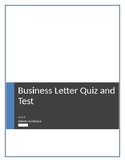 Business Letter Assessment (Quiz/and Test) ELA 9 Alberta C