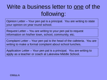 Business Letter Assignment