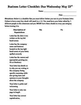 Business Letter Checklist