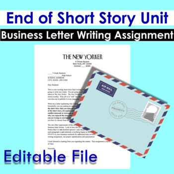 Business Letter End of Short Story Unit Writing Assignment | TpT