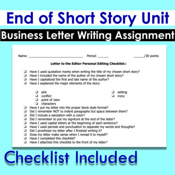 Business Letter End of Short Story Unit Writing Assignment