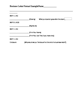 Business Letter Format Organizer