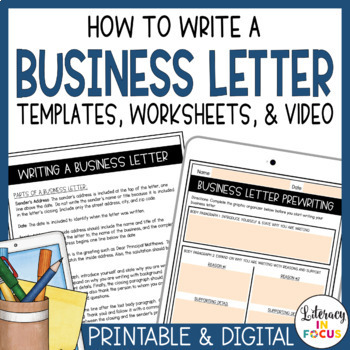 Business Letter Format Template- One Page & Ready to Print!