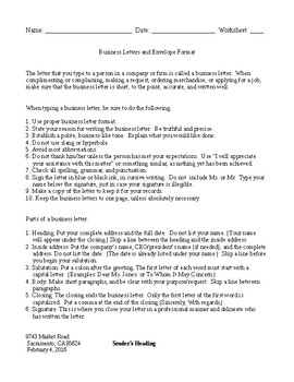 Business Letter and Envelope Format and Guidelines