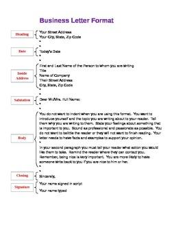 Business Letter Format outline