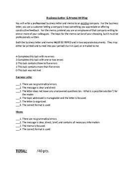 Business Letter & Memo Grading Checklist
